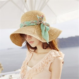 Ericdress Floral Print Ribbon Foldable Sunhat