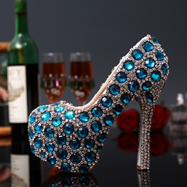 Ericdress Blue Crystal&pearls Hand Made Stiletto Wedding Shoes