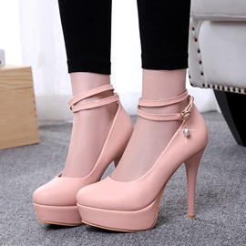 Solid Color Platform Ankle Strap Pumps