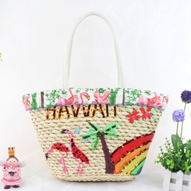 Ericdress Cartoon Print Knitted Tote Bag