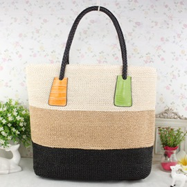 Ericdress Stylish Color Block Knitted Tote Bag