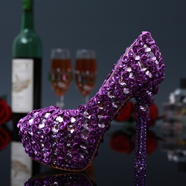 Ericdress Noble Purple Shining Crystal Wedding Shoes