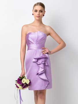 Ericdress Simple Sheath/Column Strapless Bridesmaid Dress
