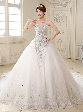 Ericdress Gorgeous Sweetheart Beadings Cathedral Train Wedding Dress