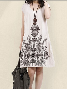 Ericdress White Print Short Sleeve Women's Casual Dress