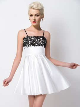 Ericdress Shinning A-Line Spaghetti Straps Short Lace Cocktail Dress