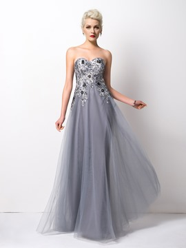 Ericdress Exquisite A-Line Sweetheart Appliques Long Evening Dress