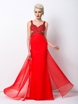 Ericdress Glimmering A-Line Straps Beaded Long Prom Dress