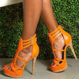 Ericdress Orange Buckle Stiletto Sandals