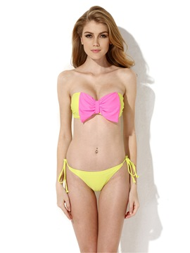 Ericdress Strapless Bowknot Decorated Bikini