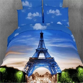 Ericdress Picturesque Eiffel Tower Print 4-Piece 100% Cotton 3D Bedding Sets
