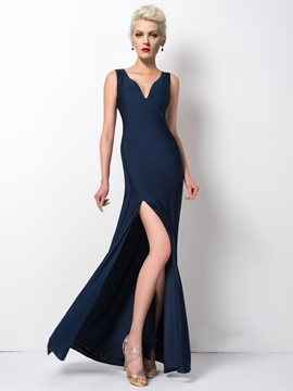 Ericdress Honorable Sheer-Back Pearl Side-Split Long Evening Dress