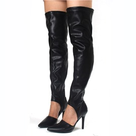 Ericdress Concise Point Toe Knee High Boots