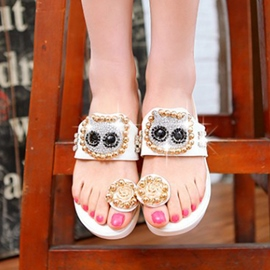 Ericdress Pretty Rhinestone Beads Clip-toe Slippers