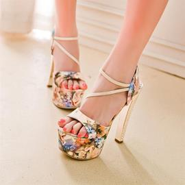 Ericdress Floral Print Stiletto Heel Sandals