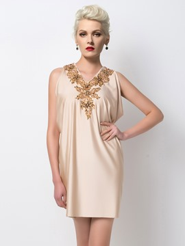 Ericdress Vogue V-Neck Appliques Sequins Cocktail Dress
