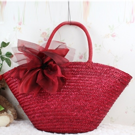 Ericdress Bohemian Style Flower Embellished Knitted Tote Bag
