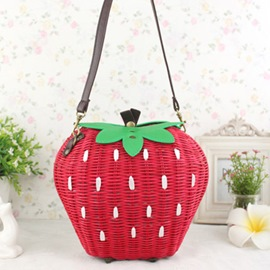 Ericdress Adorable Strawberry Shape Knitted Shoulder Bag