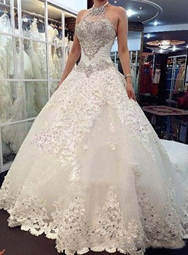 Ericdress Amazing Halter Cathedral Train Wedding Dress