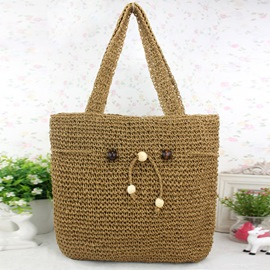 Ericdress Drawstring Decorated Knitted Tote Bag