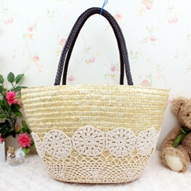 Ericdress Ladylike Crocheting Patchwork Grass Knitted Tote Bag