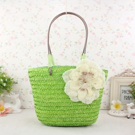 Ericdress Flower Embellished Knitted Tote Bag