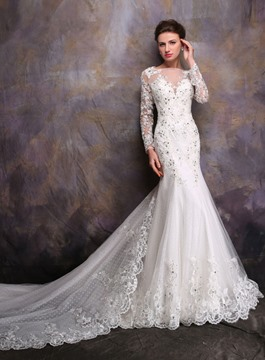 Ericdress Elegant Appliques Chapel Train Long Sleeves Wedding Dress