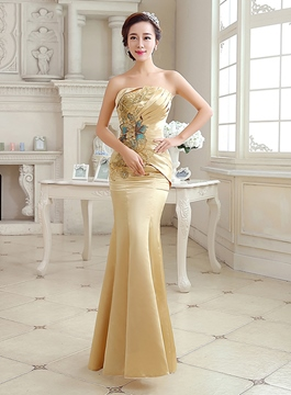 Ericdress Shinning Strapless Appliques Long Evening Dress
