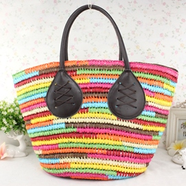 Ericdress Colorful Grass Knitted Tote Bag