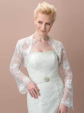 Ericdress Pretty Tulle Appliques Trumpet Sleeves Wedding Jacket