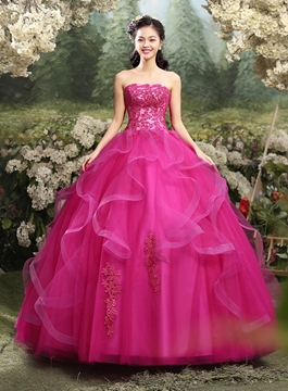 Ericdress trägerloses Applikationen Ball Gown Quinceanera Kleid