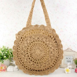 Ericdress Chic Round Shape Solid Color Knitted Shoulder Bag