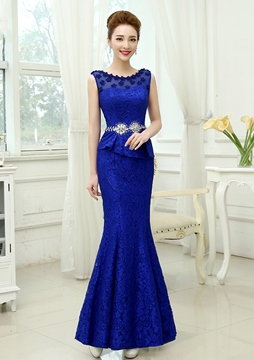 Ericdress Juwel Hals Applikationen Beaded Lace Mermaid Abendkleid