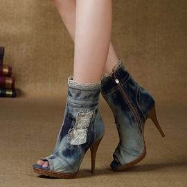 Denim Lace Peep-toe Stiletto Sandals