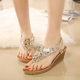 Ericdress Rhinestone Thong Heel Covering Flats Sandals