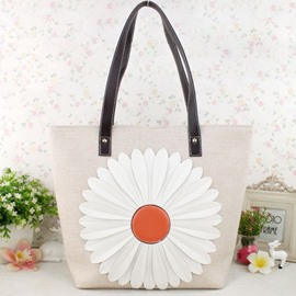Ericdress Pastoral Daisy Knitted Tote Bag