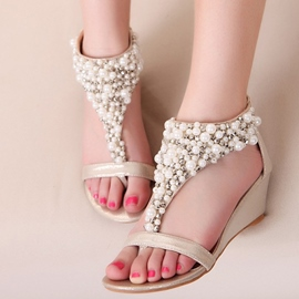 Ericdress Rhinestone Beads Zipper Flats Sandals