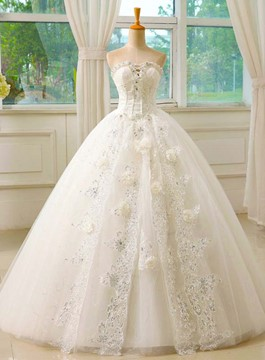 Ericdress Unique Strapless Beading Ball Gown Wedding Dress