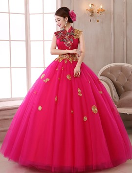 Ericdress High Neck Stickerei Ball Kleid lang Quinceanera Kleid