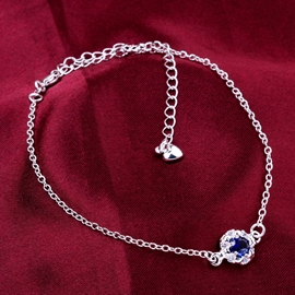 Ericdress Blue Gem Diamante Anklet