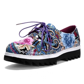 British Floral Print Lace-up Flats