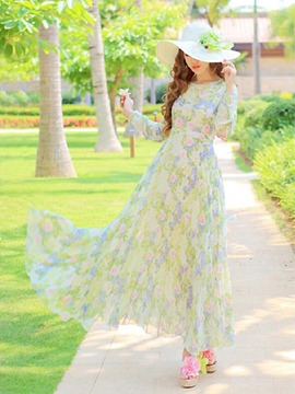Ericdress Light Green Printed Maxi Dress