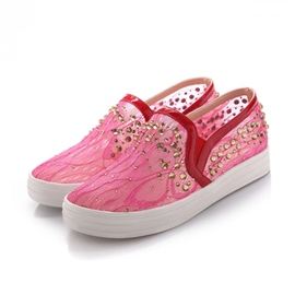 Bright Rhinestone Decoration Casual Flats
