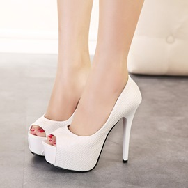 Solid Color Peep-toe Stiletto Sandals