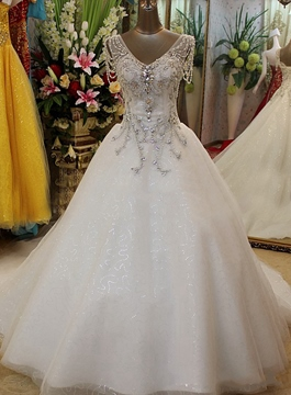 Ericdress Luxury V-Neck Beading Court Train Wedding Dress