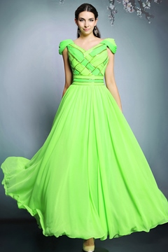 Ericdress Admirable V-Neck Beaded Floor-Length Evening Dress