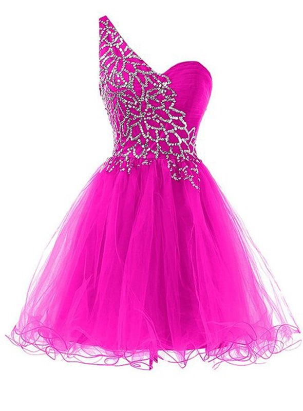 Ericdress Glamorous One-Shoulder Beaded Short A-Line Homecoming Dress