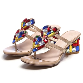 Glittering Colorful Crystal Chunky Sandals