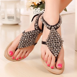 Bohemian Rhinestone Decoration Clip-toe Flat Sandals