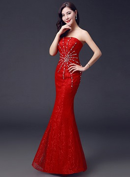 Ericdress Temperament One-Sholder Beaded Sheath Long Evening Dress
